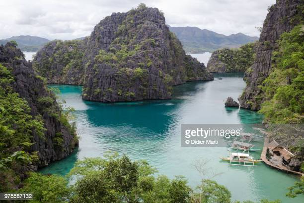 famous viewpoint over the stunning landscape of coron island in the palawan province of the philippines - palawan island stock pictures, royalty-free photos & images