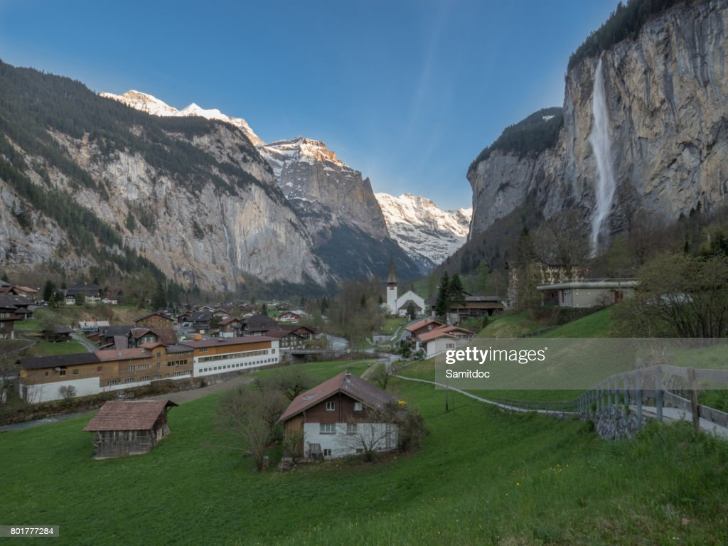 famous village lauterbrunnen in swiss alps jungfrau region