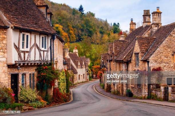 famous village of castle combe, wiltshire, england - village stock pictures, royalty-free photos & images