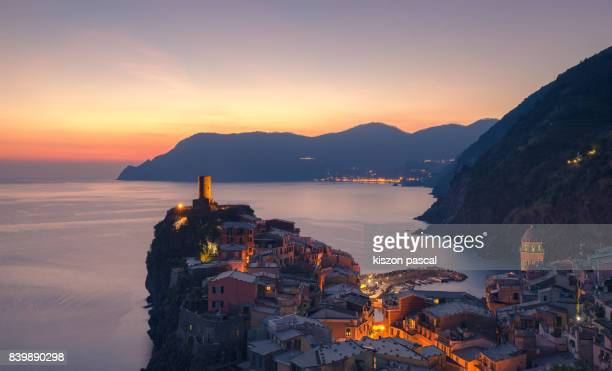 Famous village of Vernazza at dusk , ( Italy , Liguria, Cinque Terre )