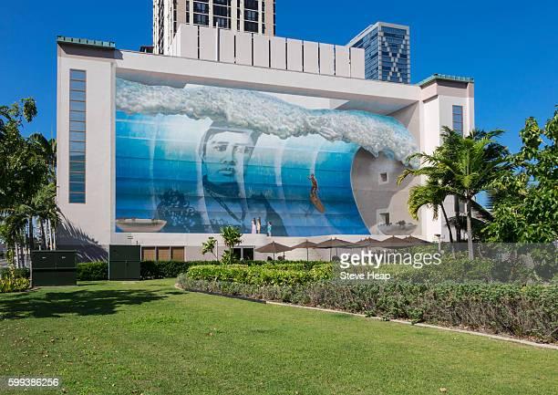Famous wall mural known as Mana Nalu or Spirit of the Wave in Honolulu, Oahu, Hawaii