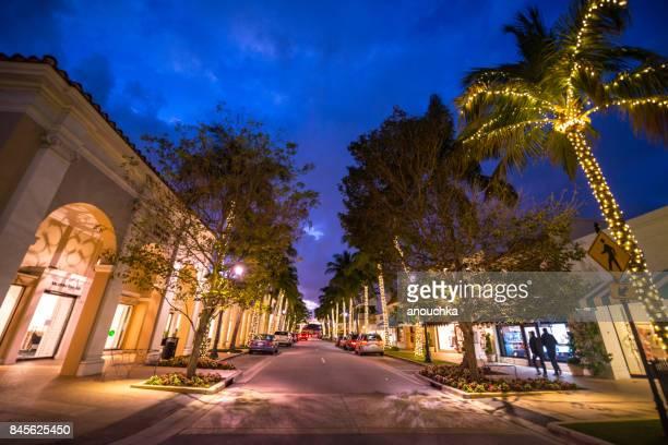 Famous Worth Avenue, shopping street at night, Palm Beach, USA
