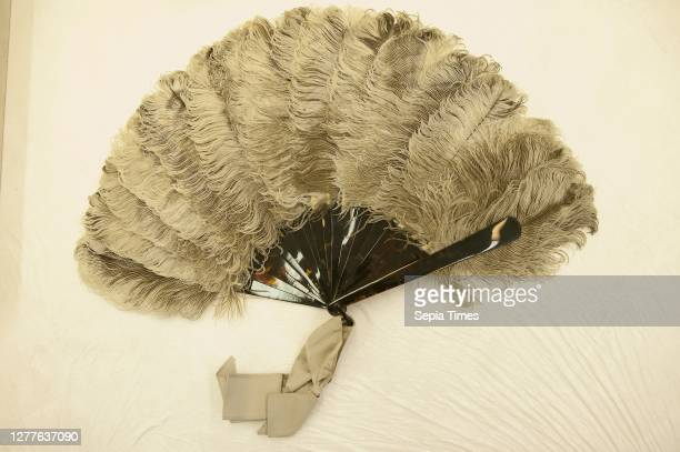 Fan, 1875/1880, France, Natural ostrich feathers, plain tortoise shell sticks, shell rivet & loop, gray ribbon, Guard: 8 1/4 in., You understand? …...