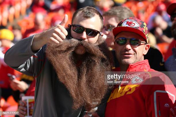 A fan and his beard before a week 6 NFL game between the Pittsburgh Steelers and Kansas City Chiefs on October 15 2017 at Arrowhead Stadium in Kansas...