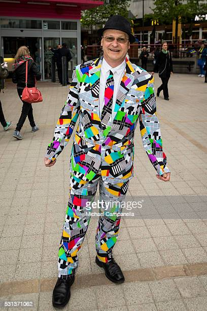 A fan arrives at the 2016 Eurovision Song Contest final at Ericsson Globe Arena on May 14 2016 in Stockholm Sweden