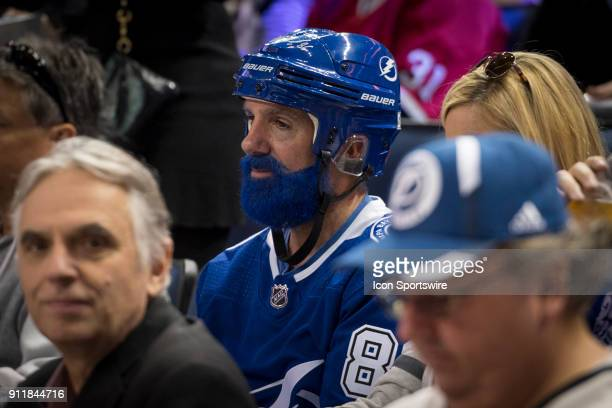 A fan arrives at the game dressed up like Toronto Maple Leafs President Brendan Shanahan during the first game of the NHL AllStar Game between the...