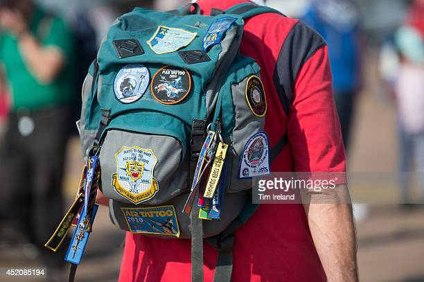 Fan arrives during the Royal International Air Tattoo at RAF Fairford on July 12, 2014 in Fairford, England. The Royal International Air Tattoo is...