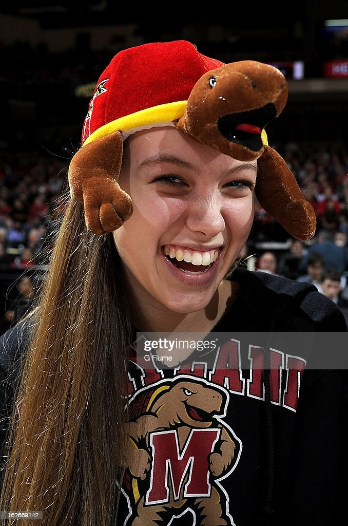 A fan attends the game between the Maryland Terrapins and the Duke Blue Devils at the Comcast Center on February 16, 2013 in College Park, Maryland.