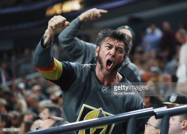 A fan attends the game between the Vegas Golden Knights and the Arizona Coyotes during the Golden Knights' inaugural regularseason home opener at...