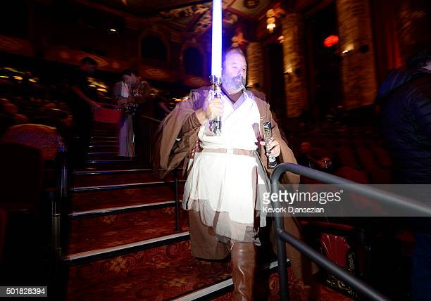 A fan attends the opening night of Walt Disney Pictures and Lucasfilm's Star Wars The Force Awakens at TCL Chinese Theatre on December 17 2015 in...