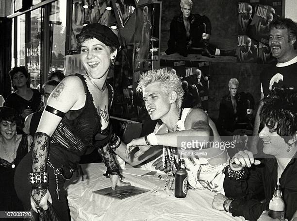 """Fan, Billy Idol and Steve Stevens during Billy Idol Signs Autographs of New Album """"Rebel Yell"""" in Hollywood - March 20, 1984 at Music and Record Shop..."""