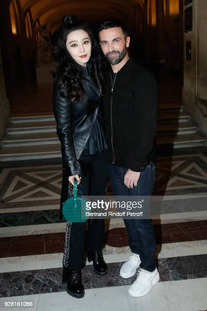 Fan Bing Bing and Stylist Nicolas Ghesquiere pose after the Louis Vuitton show as part of the Paris Fashion Week Womenswear Fall/Winter 2018/2019 on...