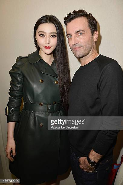 Fan Bingbing and designer Nicolas Ghesquiere pose backstage after the Louis Vuitton show as part of the Paris Fashion Week Womenswear Fall/Winter...