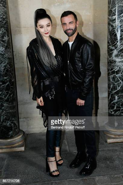 Fan Bingbing and stylist Nicolas Ghesquiere pose after the Louis Vuitton show as part of the Paris Fashion Week Womenswear Spring/Summer 2018 on...