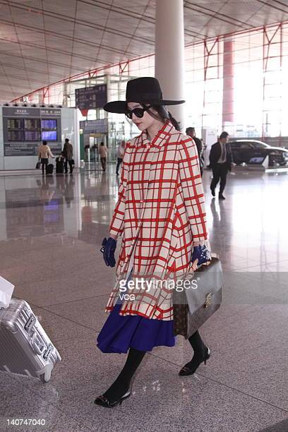 Fan Bingbing arrives at the Beijing Capital International Airport departing for Paris Fashion Week on March 6 2012 in Beijing China