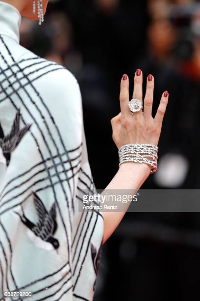 Fan Bingbing fashion detail attends the Amant Double premiere during the 70th annual Cannes Film Festival at Palais des Festivals on May 26 2017 in...
