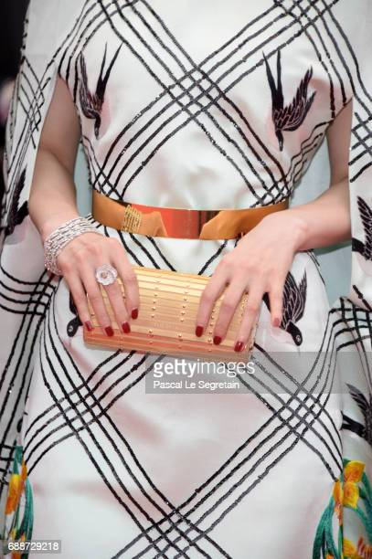 Fan Bingbing fashion detail attends the 'Amant Double ' premiere during the 70th annual Cannes Film Festival at Palais des Festivals on May 26 2017...