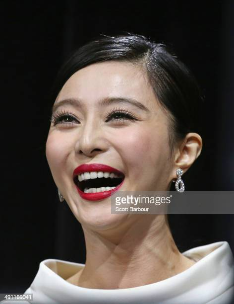 Fan Bingbing laughs as she arrives at the Australian premiere of 'XMen Days of Future Past' on May 16 2014 in Melbourne Australia