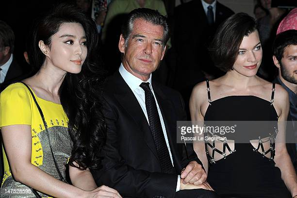 Fan Bingbing Pierce Brosnan and Milla Jovovich attend the Versace HauteCouture show as part of Paris Fashion Week Fall / Winter 2012/13 at the Ritz...