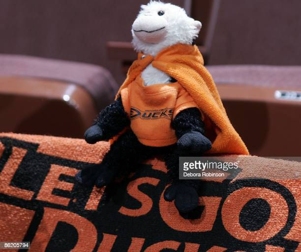 Fan brings a stuffed animal showing support for the Anaheim Ducks game against the San Jose Sharks during Game Four of the Western Conference...