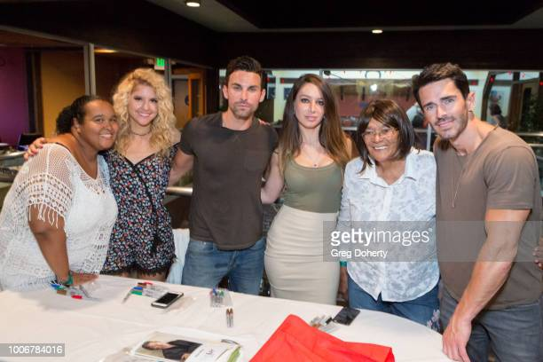Fan Brittany Underwood Erik Fellows Celeste Fianna Fan and Brandon Beemer attend The Bay Cast Host Fan Appreciation Event on July 27 2018 in Glendale...