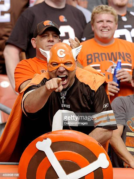 FAn 'Captain Cleveland' of the Cleveland Browns poses for a picture during a game against the Baltimore Ravens on September 21 2014 at FirstEnergy...