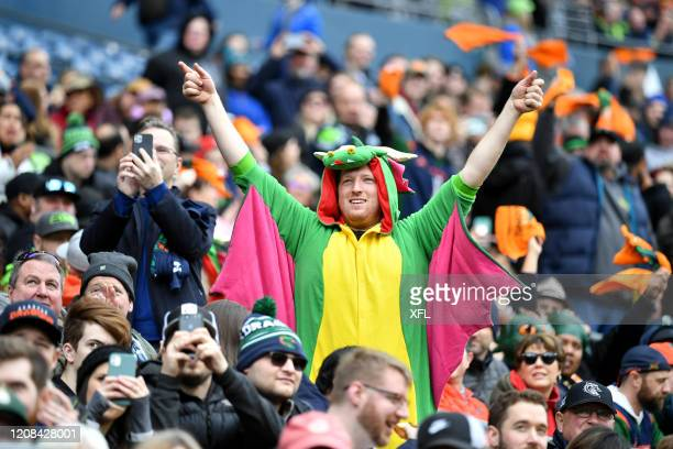 Fan celebrates during the XFL game between the Dallas Renegades and the Seattle Dragons at CenturyLink Field on February 22, 2020 in Seattle,...