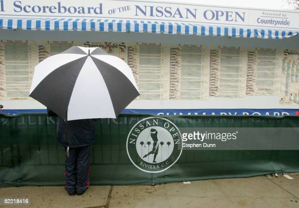 A fan checks the scoreboard after cancellation of play of the delayed second round of the Nissan Open on February 19 2005 at the Riveria Country Club...