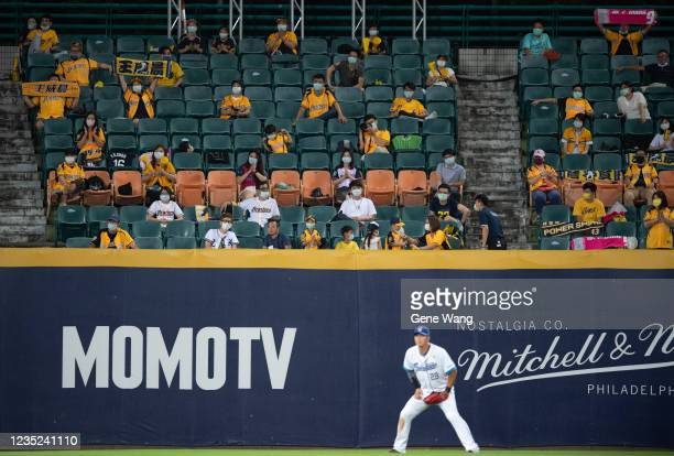 Fan cheering at the courtside when KuoHui Kao of Fubon Guardians defense at the court at the top of the 7th inning during the CPBL game between Fubon...