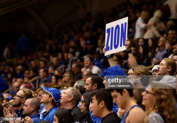 A fan cheers for Zion Williamson of the Duke Blue Devils during the first half of their game against the Princeton Tigers at Cameron Indoor Stadium...