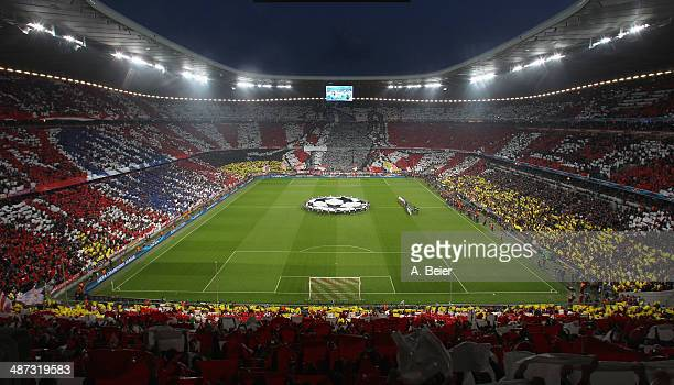 A fan choreography is pictured before the UEFA Champions League semi final second leg match between FC Bayern Muenchen and Real Madrid CF at Allianz...