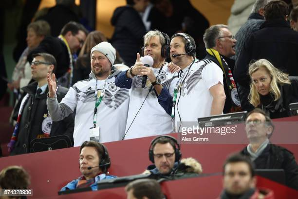 Fan Club National Team powered by Coca Cola Fanradio commentators prior to the friendly match between Germany and France at RheinEnergieStadion on...