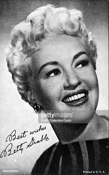 Fan club photo of movie star Betty Grable 1950
