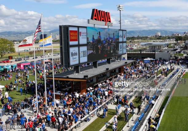 Fan congregate around the scoreboard/outdoor bar during the San Jose Earthquakes game against the Chicago Fire in the first half at of what was the...