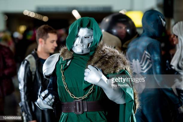 A fan cosplays as a Dr Doom from Fantastic Four and the Marvel Universe during the 2018 New York Comic Con at Javits Center on October 6 2018 in New...