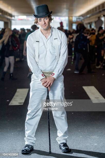 A fan cosplays as Alex form A Clockwork Orange during the 2018 New York ComicCon at Javits Center on October 7 2018 in New York City