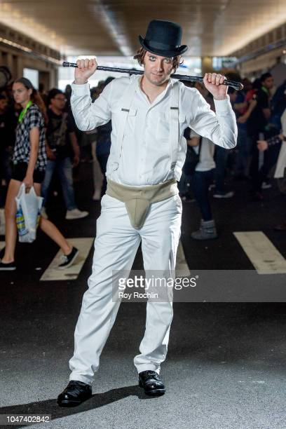 A fan cosplays as Alex from A Clockwork Orange during the 2018 New York ComicCon at Javits Center on October 7 2018 in New York City