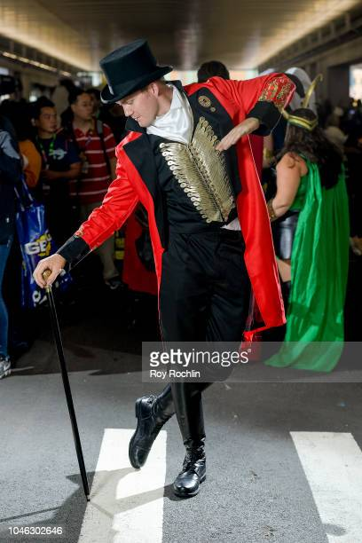 Fan cosplays as American showman P.T. Barnum during the 2018 New York Comic Con at Javits Center on October 5, 2018 in New York City.