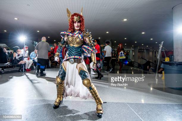 A fan cosplays as Angela of Asgard from Thor and the Marvel Universe during the 2018 New York Comic Con at Javits Center on October 6 2018 in New...