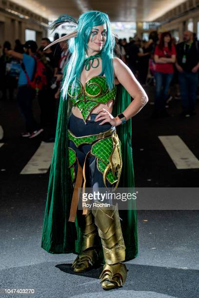 A fan cosplays as Ashra Valandril form World of Warcraft during the 2018 New York ComicCon at Javits Center on October 7 2018 in New York City
