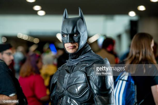 Fan cosplays as Batman from the DC Universe during the 2018 New York Comic Con at Javits Center on October 6, 2018 in New York City.