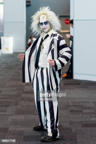 A fan cosplays as Beetlejuice during 2017 New York Comic Con Day 1 on October 5 2017 in New York City