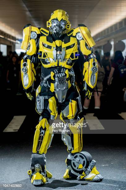 A fan cosplays as Bumblebee from Transformers during the 2018 New York ComicCon at Javits Center on October 7 2018 in New York City