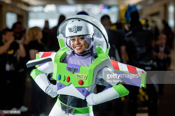 A fan cosplays as Buzz Lightyear from Toy Story during the 2018 New York ComicCon at Javits Center on October 7 2018 in New York City