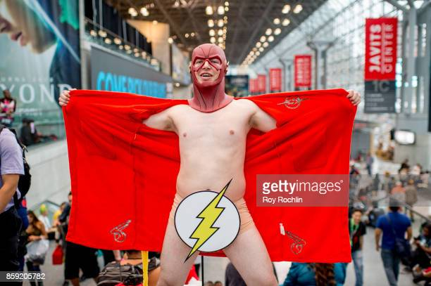 A fan cosplays as Creepy The Flash during the 2017 New York Comic Con Day 4 on October 8 2017 in New York City