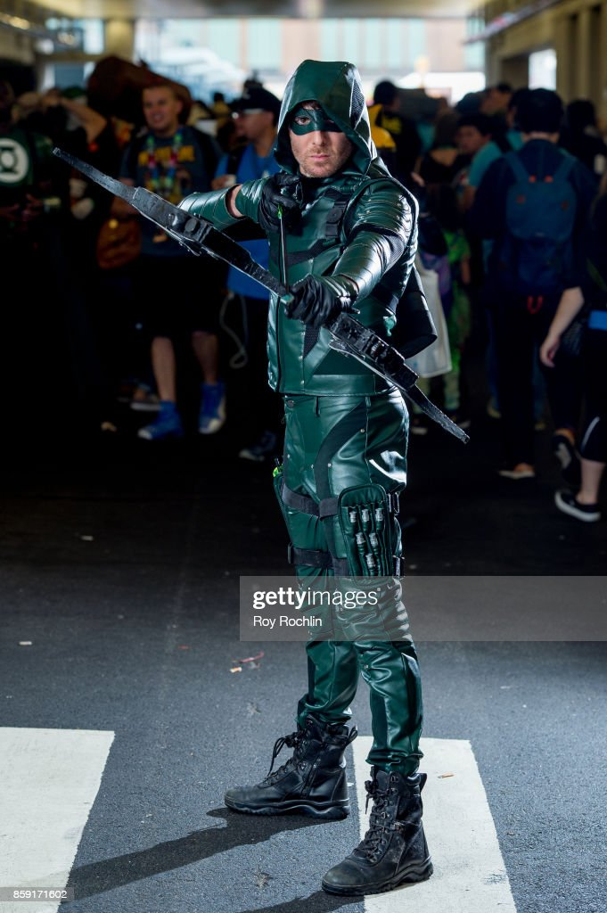 A fan cosplays as Green Arrow from Arrow during the 2017 New York Comic Con - Day 4 on October 8, 2017 in New York City.