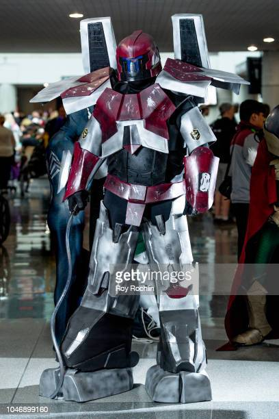 A fan cosplays as Guardian Bravo from Pacific Rim during the 2018 New York Comic Con at Javits Center on October 6 2018 in New York City