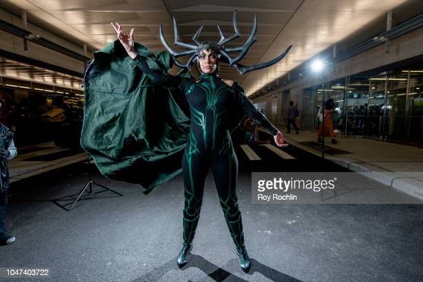 Fan cosplays as Hela The Asgardian goddess of death from Thor and the Marvel Universe during the 2018 New York Comic-Con at Javits Center on October...