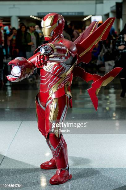 Fan cosplays as Iron Man from the Marvel Universe during the 2018 New York Comic Con at Javits Center on October 6, 2018 in New York City.
