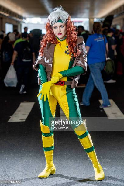 A fan cosplays as Rogue from XMen and the Marvel Universe during the 2018 New York ComicCon at Javits Center on October 7 2018 in New York City